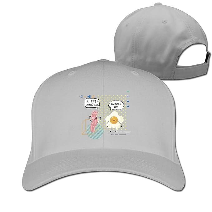 WRTAS Bacon and Egg Bacon Structive Yolk Baseball Hats Unisex Street  Dancing Flat-Along Cap f3f61622a038