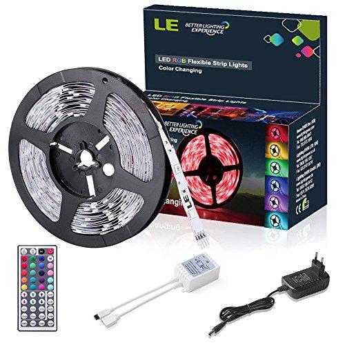 LE 5m 150 5050 Leds Flexibler LED Streifen, RGB, Farbwechsel, DIY-Beleuchtung, Nicht Wasserdicht, Inklusive Netzteil und 44 Tasten IR-Fernbedienung, LED Lichtband, halloween beleuchtung