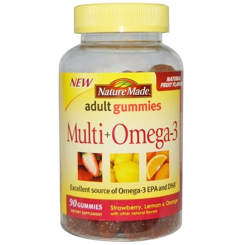 Cheap Nature Made Multi+Omega3 Adult Gummies Strawberry Lemon & Orange — 90 Gummies (Pack of 3) , Nature Made-d7dr