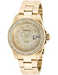 Invicta Womens 90255 Angel Quartz 3 Hand Pave, Gold Dial Watch