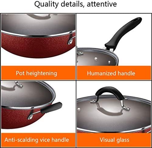 Poêle à frire Wok de Cuisson Multifonction antiadhésif Domestique, Facile à Nettoyer sans Vapeur d'huile, Couvercle en Verre visuel, cuisinière à gaz Universelle