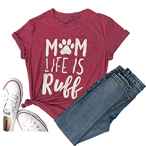 Hellopopgo It's Fall Y'all Mom Life is Ruff Shirt Women Halloween T-Shirt Casual Short Sleeve Letter Funny Top Tee (Medium, Red) -