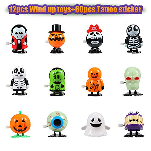 Twister.CK Halloween Wind Up Toys 12 pcs and Temporary Tattoo 60 pcs for Kids, Halloween Toy Assortments,Party Favors, Goody Bag Filler, Boys Girls Children Birthdays ()