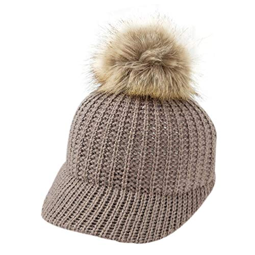 Price comparison product image NISO p Fashion Knitted Baby Hat Pompom Winter Cap for Kids Adjustable Solid Baby &Adult Winter Hat 1PC Brown