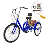 EOSAGA Adult Tricycle 7 Speed 24/26 Inch Trike Cruiser Bike Three-Wheeled Bicycle Brake System and Basket Cruiser Bicycles Size for Shopping,Recreation with Large Basket, Lock, Bike Pump