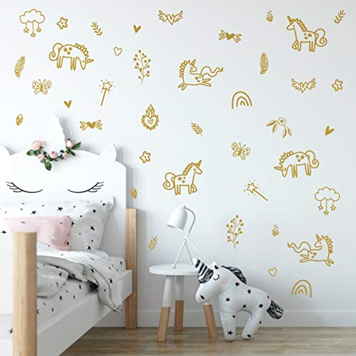 Wall Vinyl Unicorns and Rainbows Decal 40 pcs. Nursery Decor, Original Artist Design. Adhesive Animals Sticker for Kids. Baby Nordic Unicorn, Magic, Flowers, Rainbow Bedroom Decoration.  (Gold) (Pcs Stickers Wall 30 Heart)