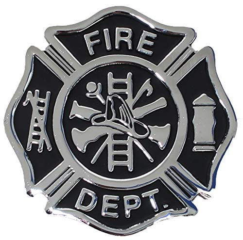 Firefighter Maltese Cross Shaped Metal Auto Emblem (Black & Chrome)