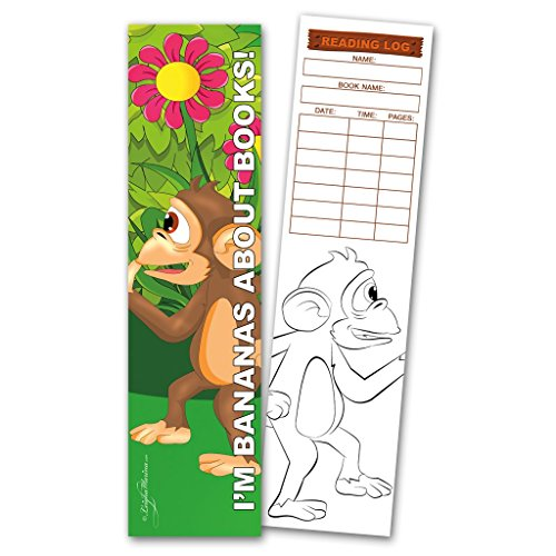 30 Monkey 'I'm Bananas About Books!' Coloring Bookmarks with Reading (Monkey Bookmarks)