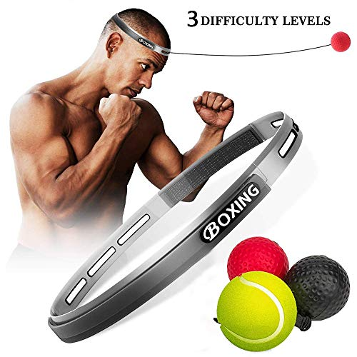 LNYOSN Boxing Reflex Ball 3 Difficulty Level Boxing Ball with Headband Perfect for Agility Hand Eye Coordination Fight Ball for Kids Adult