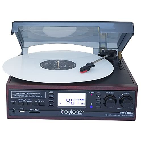 Boytone BT-19DJM-C 3-speed Turntable, 2 Built in Speakers Large Digital Display AM/FM, Cassette, USB/SD/AUX/MP3, Recorder & WMA Playback /Recorder & Headphone Jack + Remote Control
