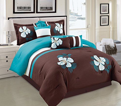 Turquoise Blue, Brown and White Comforter Set Floral Bed In A Bag Queen Size Bedding