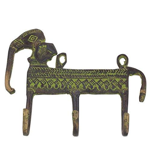 NOVICA Animal Themed Metallic Brass Wall Mounted Coat Hanger, Green, Helpful Elephant' by NOVICA