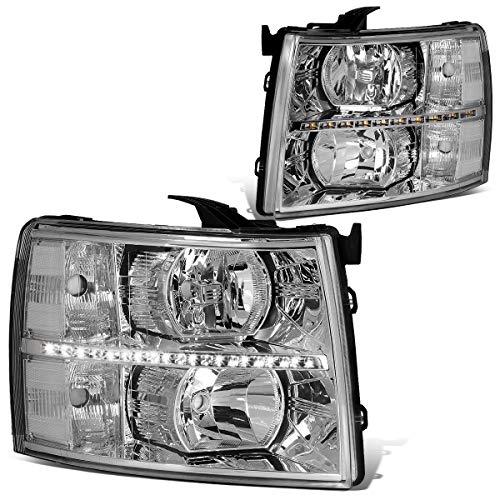 DNA Motoring HL-LED-CSIL07-CH-CL1 Chrome clear Pair LED DRL Strip Headlight/Lamp [For 07-14 Chevy Silverado]