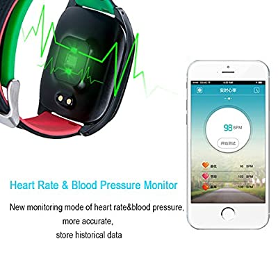 Smart Bracelet, Longess Color Block Contrast Ultra Thin Heart Rate Blood Pressure Monitor Waterproof Sports Wristband Pedometer Fitness Activity Tracker for IOS & Android
