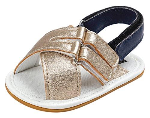 La Vogue Zapatos Bebé Niña Sandalias para Verano Antideslizante Dorado Color