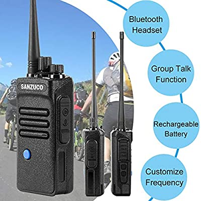 Two-Way Radios with Bluetooth Headset, Sanzuco UHF Handheld 2 Way Radios Rechargeable, Long Range Bluetooth Walkie Talkie (2 Packs): Car Electronics