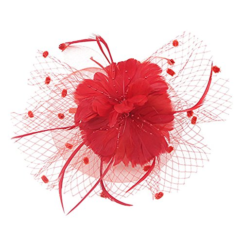 Auranso Derby Netting Mesh Headband Feather Big Flowers Hair Band Tea Party Girls Women Wedding Bridal Fascinator Hat
