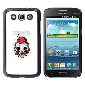 KLONGSHOP // Cubierta de piel con cierre a presión Shell trasero duro de goma Protección Caso - Pulpo cráneo - Samsung Galaxy Win I8550 //