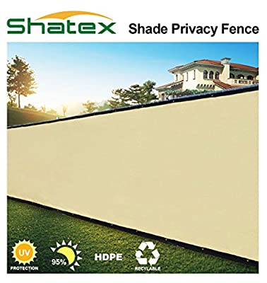 Shatex 90% 4x15ft Wheat Fence Privacy Screen, Shade Fence, Mesh Fabric Taped with Metal Grommets, Zip Ties Included