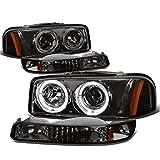 GMC Sierra/Yukon GMT800 4pc Dual Halo Projector Headlight+Bumper Light Assembly Kit (Smoke Lens Amber Reflector)