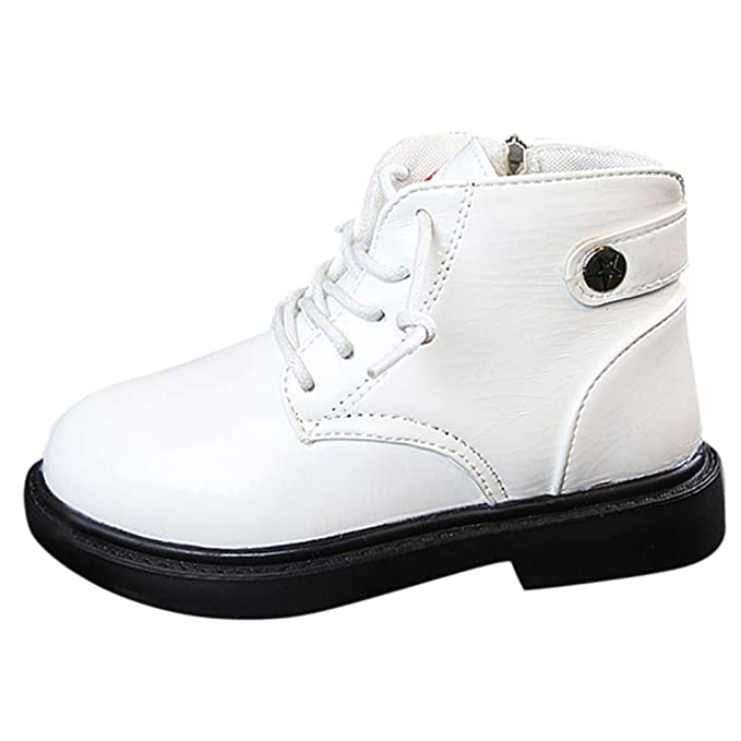 YanHoo Zapatos para niños Botas de niños y niñas para niños Botas de niños y niñas con Cremallera Viento británico Botas Botas de Nieve Zapatos Casuales: ...