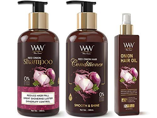 Waw Skin Cosmo Red Onion Shampoo, Onion Conditioner and Onion Oil Anti Hair Fall Ultimate Hair Care Kit (3 Items in The…