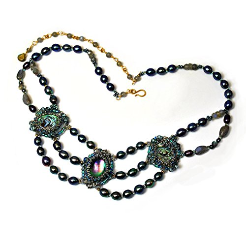 ce in 14K Gold Filled with Cultured Freshwater Pearls, Labradorite and Abalone ()