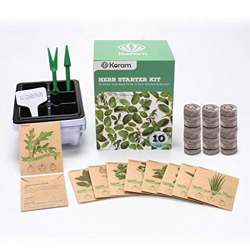 KORAM Herb Garden Kit Growing Kit Gardening Starter Set- 10 Herbs Grow from Organic Seeds Indoor Herb Kit with Everything a Gardener Needs for Growing Herbs Indoors, Kitchen, Balcony Christmas Gift Price: $19.99