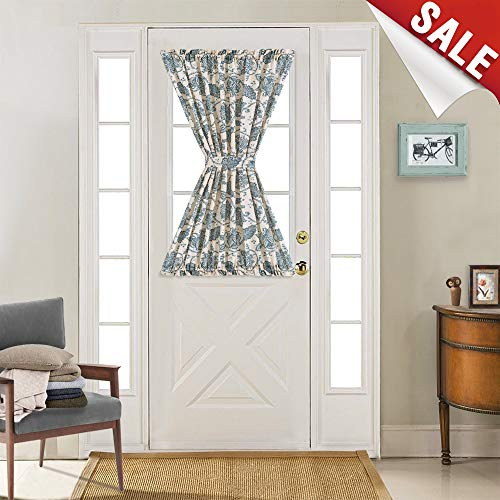 French Door Panel Curtains Paisley Scroll Printed Linen Textured French Door Curtains 40 inches Long French Door Panels, Tieback Included, 1 Panel, Teal (Door Panel Back Tie)