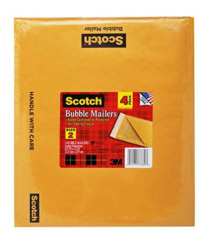 Scotch Bubble Mailer, 8.5 in x 11 in, Size #2, 4-Pack (7914-4)