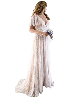 a05399ed45 Tsbridal Boho Wedding Dress V Neck Cap Sleeve Lace Beach Wedding Gown  Backless Bride Dresses Applique at Amazon Women's Clothing store: