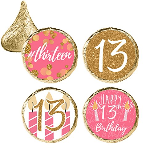 Girls 13th Birthday Party Favor Stickers, Pink and Gold (324 Count)