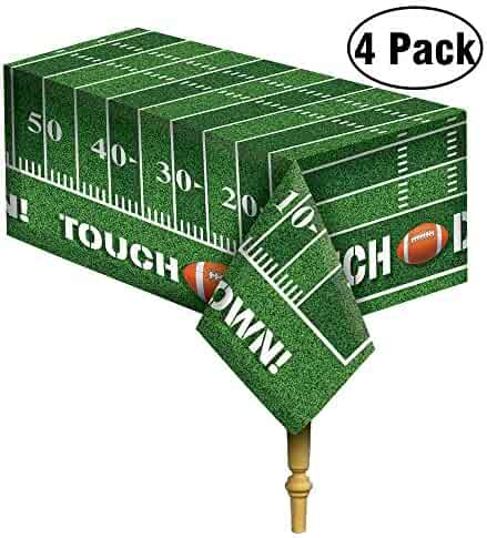JOYIN 4 Pack Game Day Football Tablecloth Table Cover Touchdown Party Decorations Football Party Supplies (54x72 Inches)