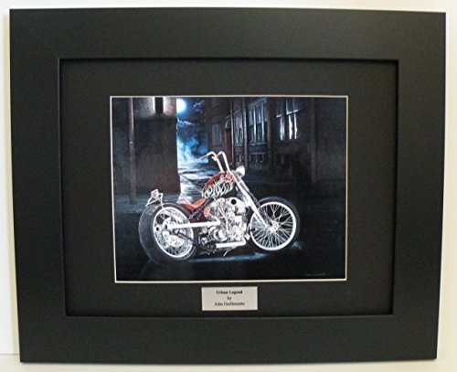Limited Edition Custom Framed Motorcycle Art Print, Indian Larry Chain of Mystery Bobber, New York Cityscape Wall Art Signed Numbered w/Certificate - Original Painting by John Guillemette