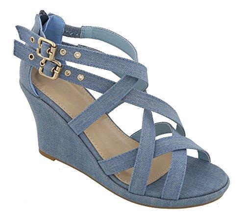 MVE Shoes Women's Platform Cut Out Buckle Open Toe Wedges