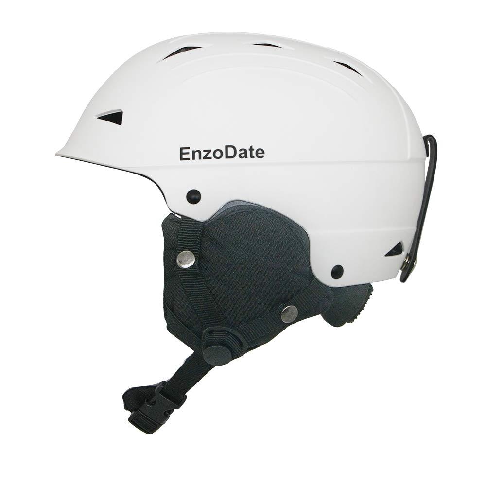 EnzoDate Casque de Ski dhiver l/éger pour Sports dhiver Casque de Snowboard pour Hommes avec Cache-Oreilles Amovibles