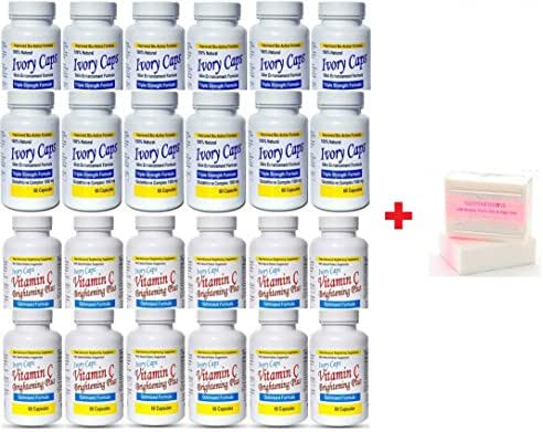 12 X (Ivory Caps Skin Whitening Lightening 1500mg Glutathione Support Pill + Vitamin C Brightening Plus) +Premium Extra Strength Whitening Pink Soap