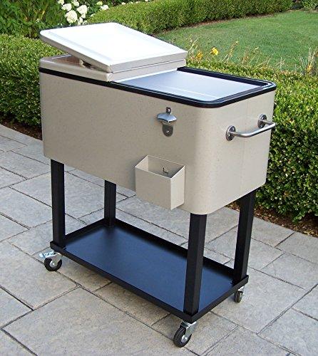 (Oakland Living 90010-BS Steel Patio Cooler with Cart, 80-Quart, Beach Sand)