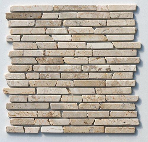 ST-433 Marmor Naturstein Stab Mosaik Fliesen Weiß Beige Design Wand Dekoration