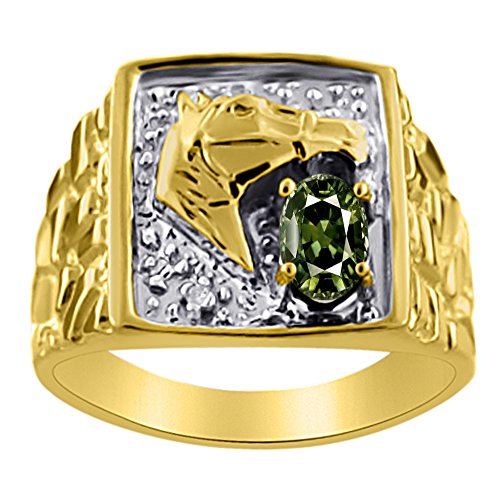 Diamond & Green Sapphire Ring 14K Yellow or 14K White Gold Lucky Horse Head Ring -