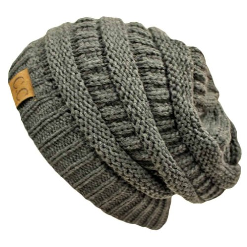 Charcoal Grey Over-Sized Slouchy Cable Knit Unisex Beanie Cap - Sized Hat