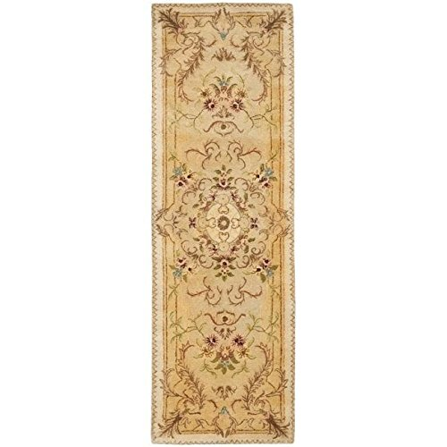 Safavieh Handmade Aubusson Creteil Beige/ Light Gold Wool Rug (2'6 x 10') (Aubusson Rugs Safavieh)