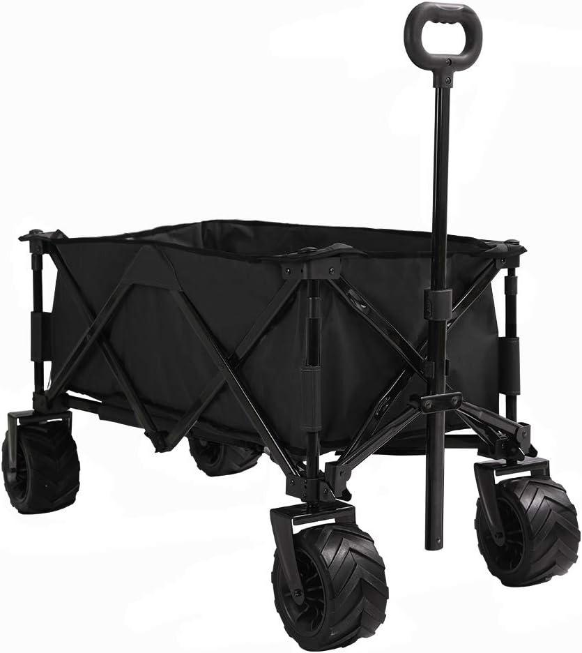 Patio Watcher Collapsible Wagon Folding Utility Wagon Cart Beach Outdoor Garden Camping Sports All Terrain Wagons Heavy Duty, Black