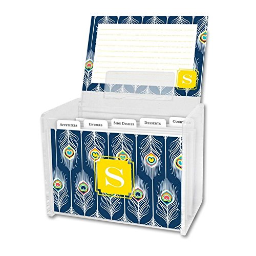 (Dabney Lee Argus Recipe Box & Cards with Single Initial, S, Multicolored)