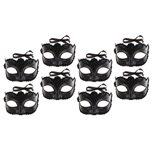 Dressing Up For Mardi Gras (Baoblaze Set of 8pcs Retro Black Adults Eye Face Mask Party Prom Ball Venetian Masquerade Dressing up Mardi Gras Costume)