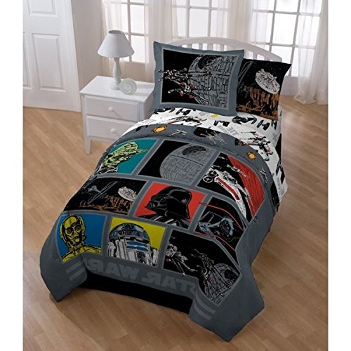 5 Piece Boys Star Wars The Movie Patchwork Comforter Twin Set, Kids Retro Starwars Patch Work Graphic Bedding, Multi Color Classic Death Character Darth Vader Themed Pattern Red Yellow Blue Black