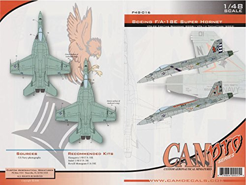 CAMP48016 1:48 CAM Pro Decals - F-18E Super Hornet VFA-22 Fighting Redcocks VFA-14 Tomcatters [WATERSLIDE DECAL SHEET]