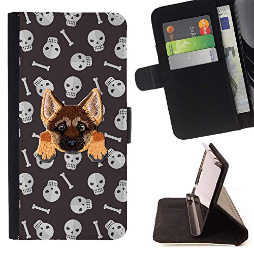 [ GERMAN SHEPHERD ] Embroidered Cute Dog Puppy Leather Wallet Case FOR Samsung Galaxy S7 [ Creepy Halloween Pattern ] ()