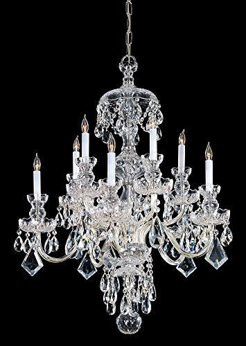Crystorama 1140-PB-CL-MWP, Traditional Crystal Chandelier Lighting, 10 Light, 600 Watts, Brass (Pb Cl Chandelier Mwp)