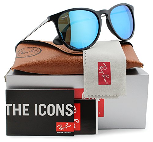Ray-Ban RB4171 Erika Sunglasses Shiny Black w/Blue Mirror (601/55) 4171 60155 54mm - Rb4171 Rayban Erika